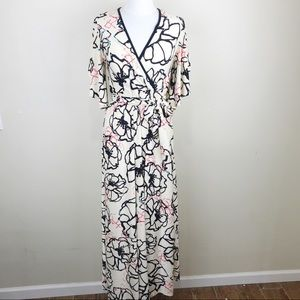 Go Couture Floral Belted Maxi Kimono Dress Small